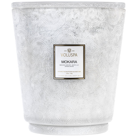 Hearth 5 Wick Glass Candle in Mokara design by Voluspa