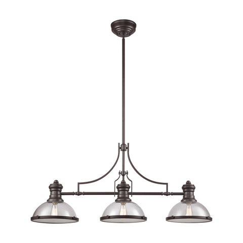 Chadwick 3-Light Island Light in Oil Rubbed Bronze with Seedy Glass by BD Fine Lighting