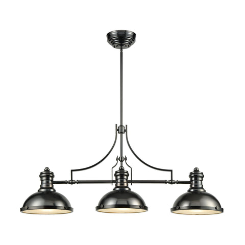 Chadwick 3-Light Island Light in Black Nickel with Metal Shade and Frosted Glass Diffuser by BD Fine Lighting
