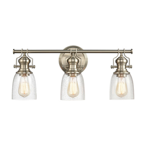 Chadwick 3-Light Vanity Light in Oil Rubbed Bronze and Satin Brass with Seedy Glass by BD Fine Lighting