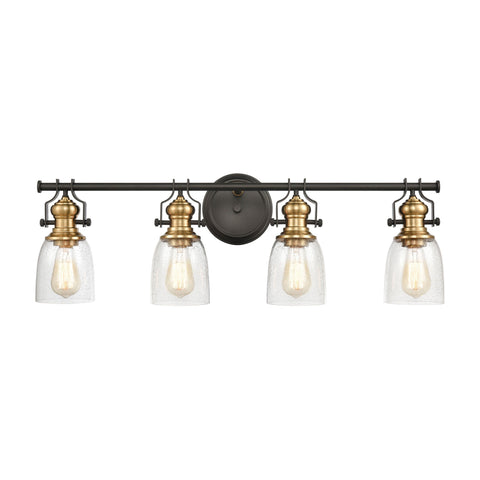 Chadwick 4-Light 10 x 7 x 32 Vanity Light in Oil Rubbed Bronze and Satin Brass with Seedy Glass by BD Fine Lighting