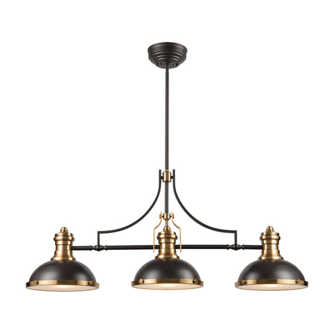 Chadwick 3-Light Island Light in Oil Rubbed Bronze with Metal and Frosted Glass by BD Fine Lighting