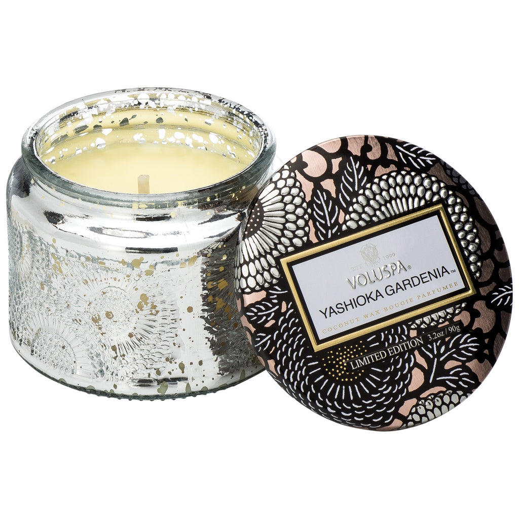 Petite Embossed Glass Jar Candle in Yashioka Gardenia design by Voluspa