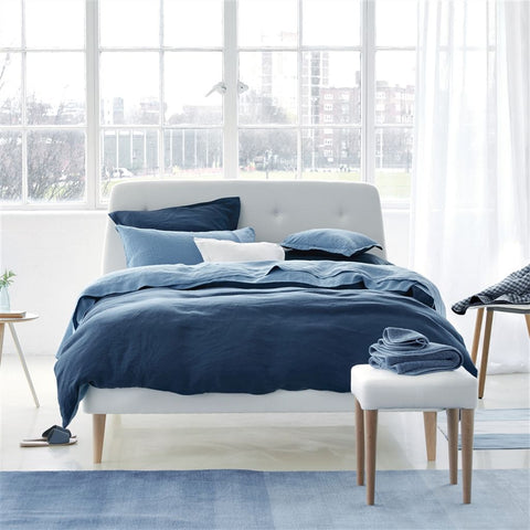 Biella Midnight & Wedgwood Bedding design by Designers Guild