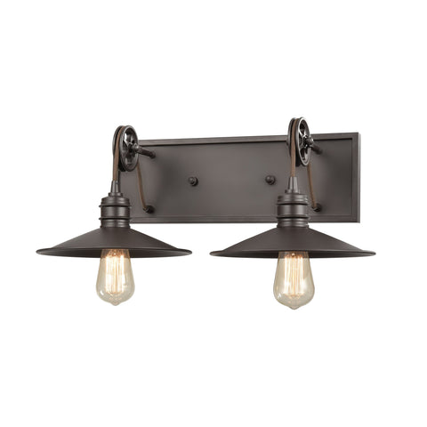 Spindle Wheel 2-Light Vanity Light in Oil Rubbed Bronze by BD Fine Lighting