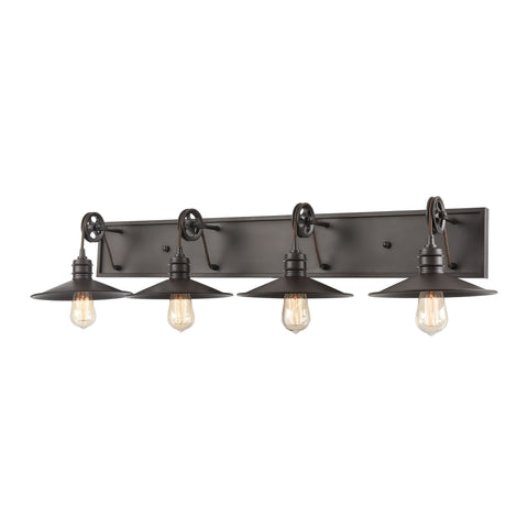 Spindle Wheel 4-Light Vanity Light in Oil Rubbed Bronze by BD Fine Lighting