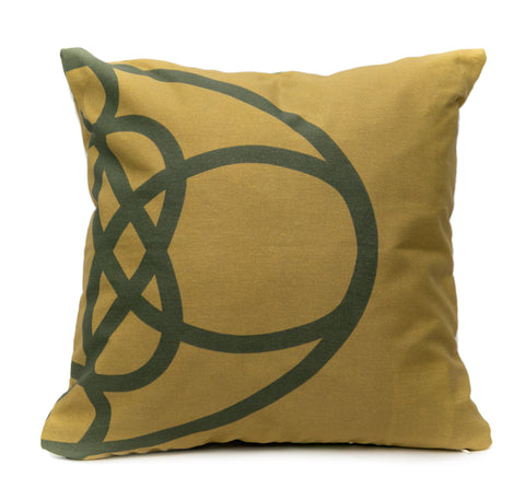 Olive Knots Throw Pillow