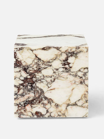Plinth Table Cubic in Rose Marble by Menu