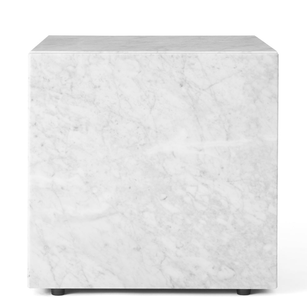 Plinth Table Cubic in White Carrara Marble design by Menu