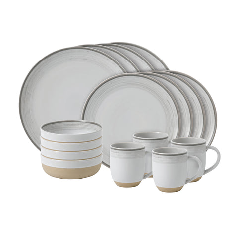 Brushed Glaze 16-Piece Set in Soft White design by Ellen DeGeneres