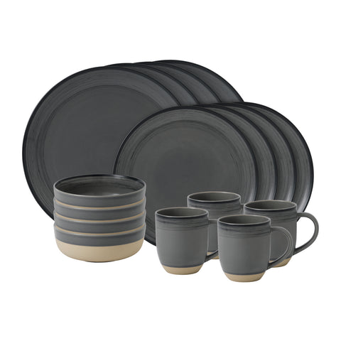 Brushed Glaze 16-Piece Set in Charcoal Grey by Ellen DeGeneres