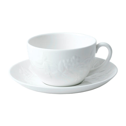 Wild Strawberry White Teacup & Saucer Set