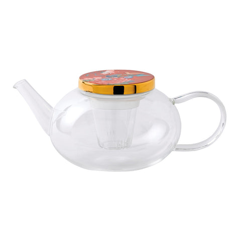 Paeonia Blush Glass Teapot w/ Ceramic Lid