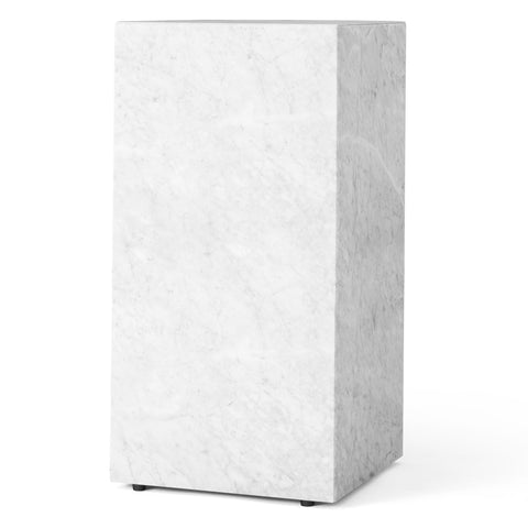 Plinth Table Tall in White Carrara Marble design by Menu
