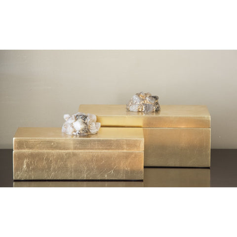 Set of 2 Astoria Quartz Rectangular Boxes by Couture Lamps