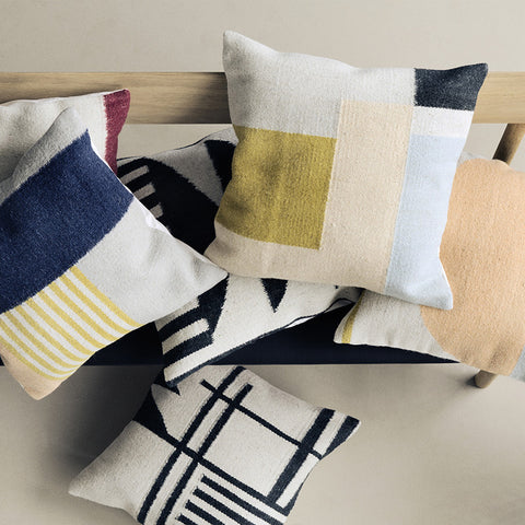 Kelim Cushion, Black Lines design by Ferm Living