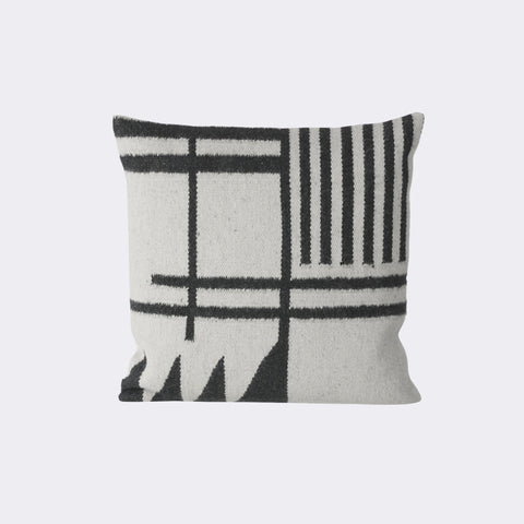 Kelim Cushion, Black Lines by Ferm Living