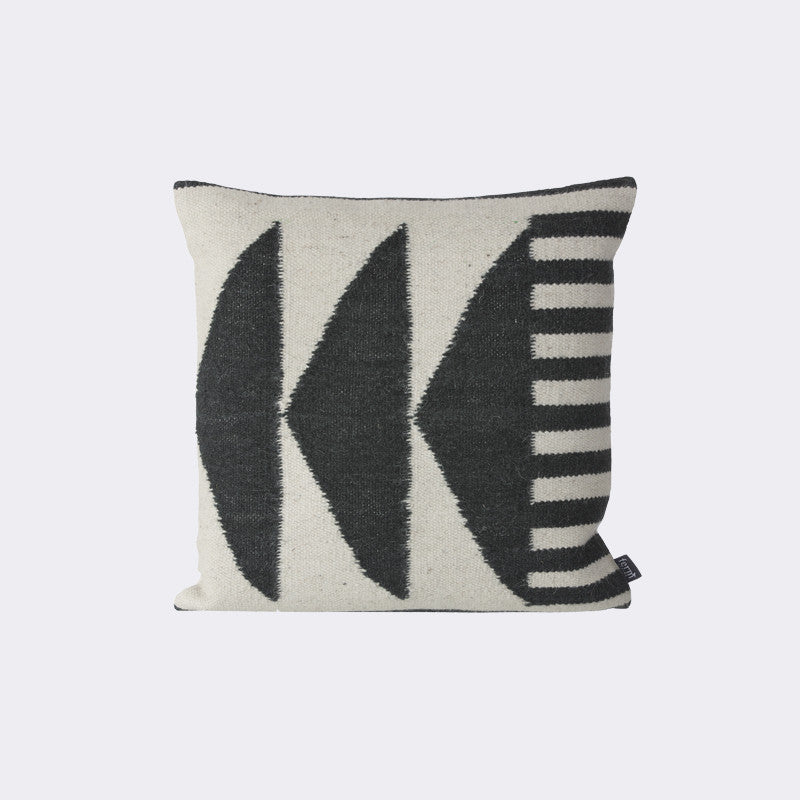 Kelim Cushion, Black Triangles design by Ferm Living