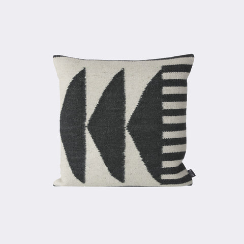 Kelim Cushion, Black Triangles by Ferm Living