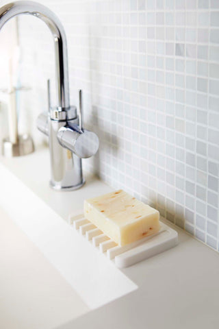 Flow Self Draining Soap Tray in Various Colors by Yamazaki