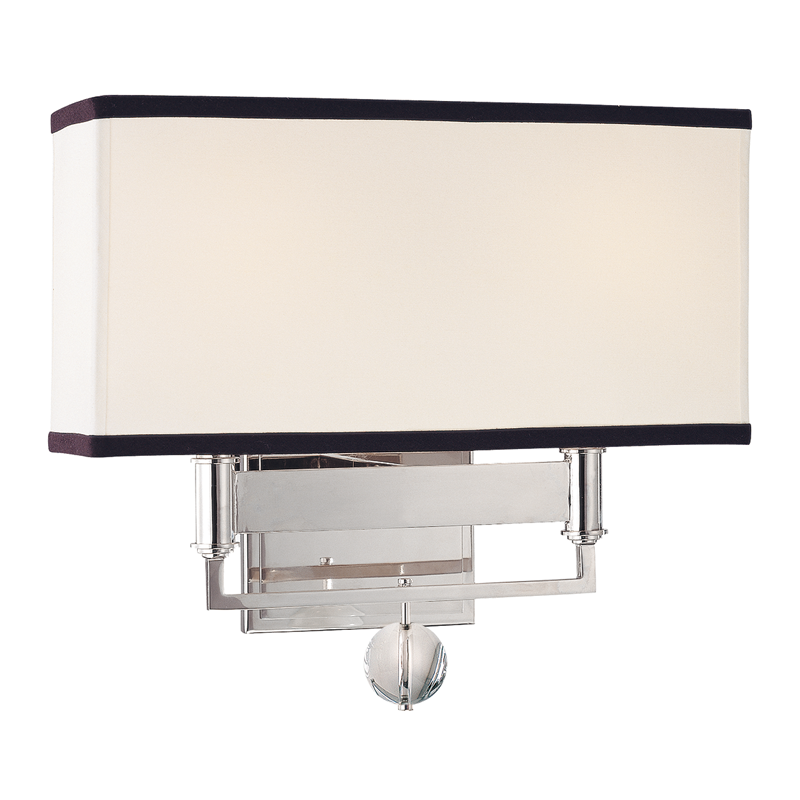 Gresham Park 2 Light Wall Sconce With Black Trim On Shade