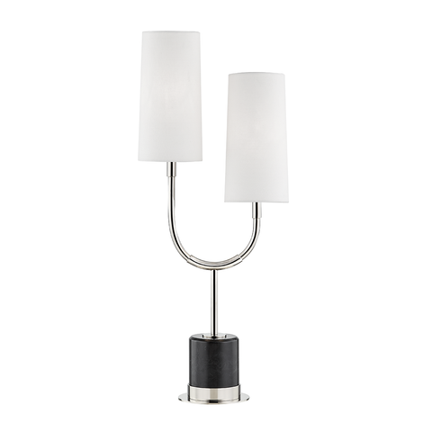Vesper 2 Light Marble Table Lamp by Hudson Valley