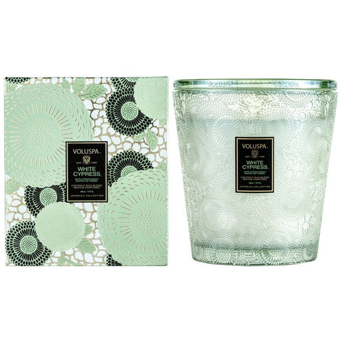 3 Wick Hearth Glass Candle in White Cypress