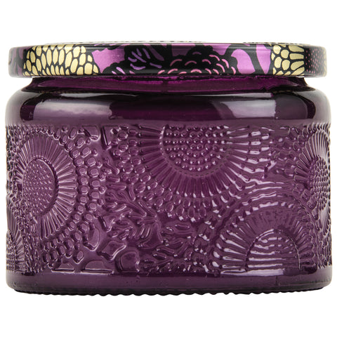 Petite Embossed Glass Jar Candle in Santiago Huckleberry design by Voluspa