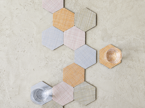 Hex Coaster Set in Multi design by Chilewich