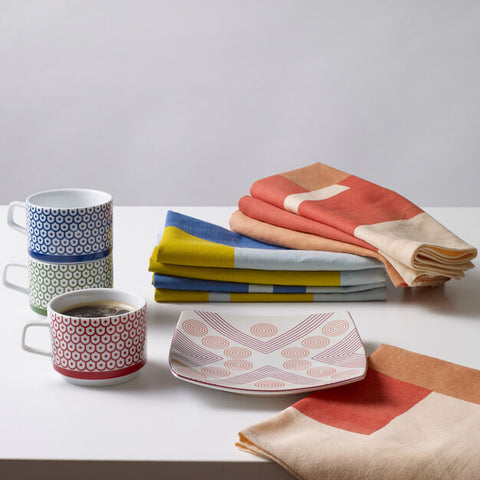 Marguerita Mergentime Shield and Dots Stacking Porcelain Mugs