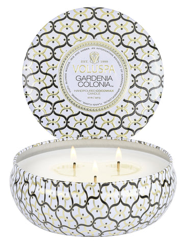 Gardenia Colonia 3 Wick Tin Candle