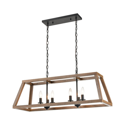 Barrow 6-Light Island Light in Birchwood and Matte Black by BD Fine Lighting