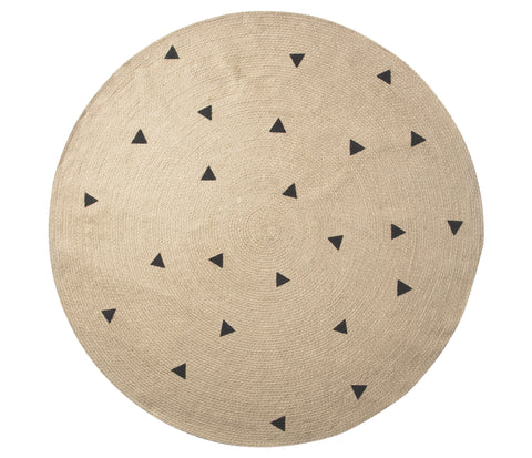 Large Jute Carpet in Black Triangles design by Ferm Living