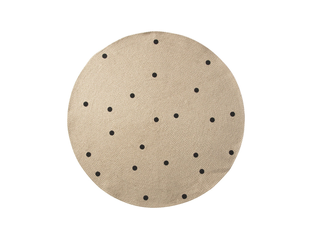 Small Jute Carpet in Black Dots by Ferm Living
