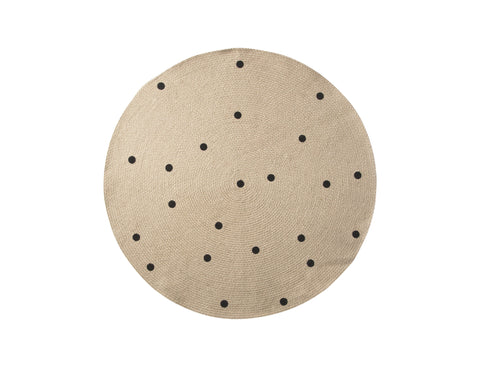 Small Jute Carpet in Black Dots design by Ferm Living