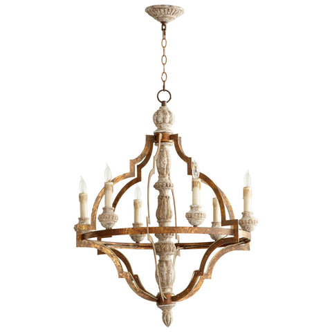 Bastille Six Light Chandelier in Parisian Blue