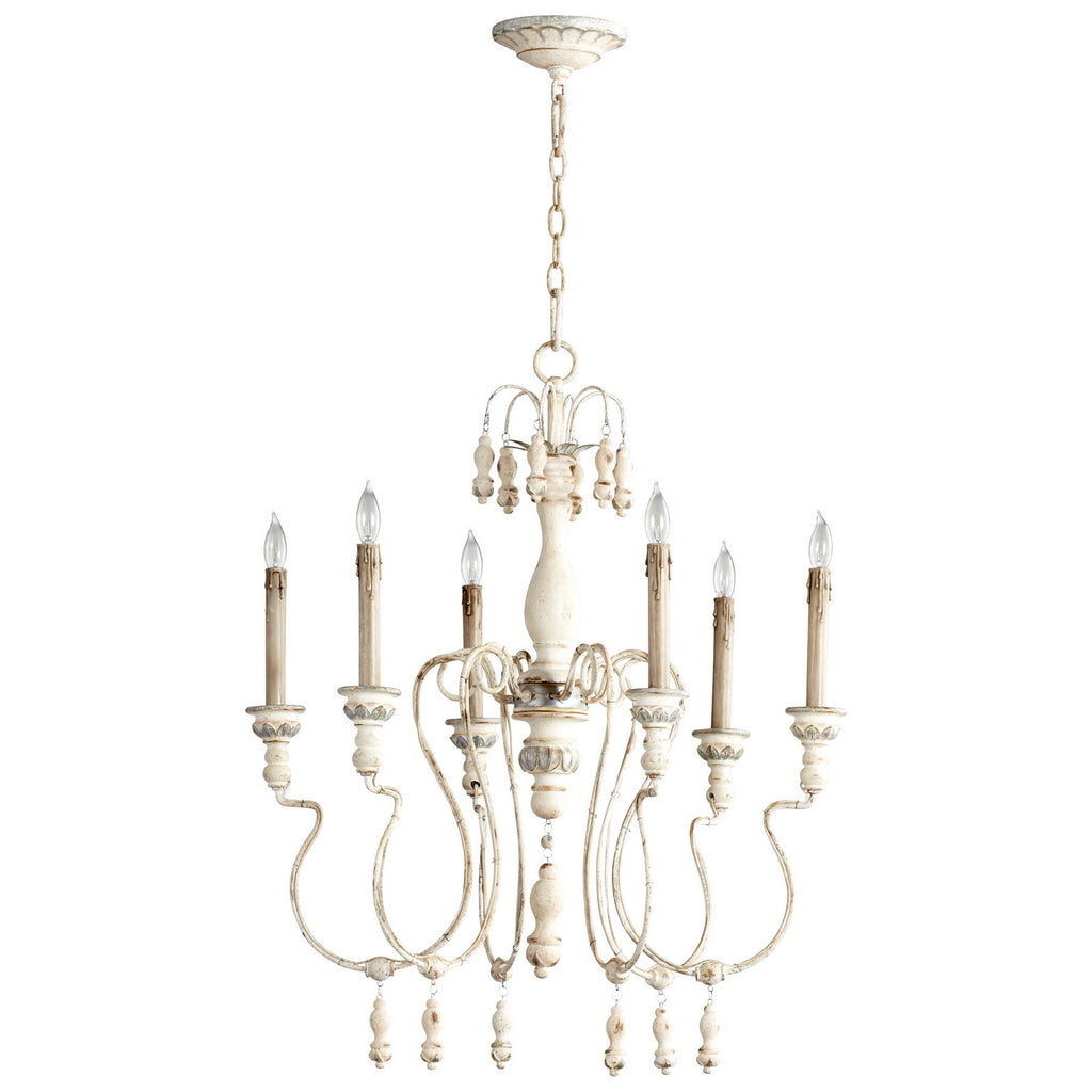 Chantal Six Light Chandelier in Parisian Blue