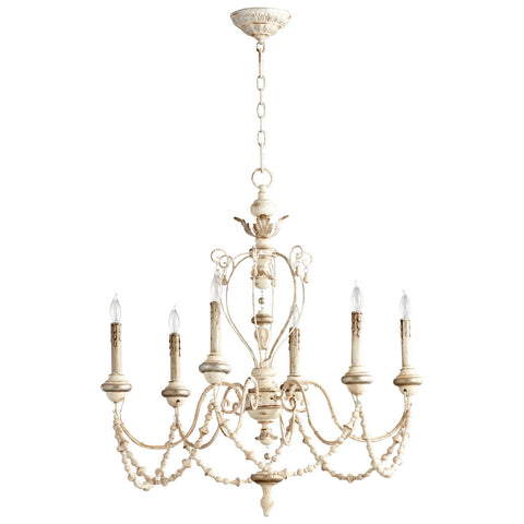 Florine Six Light Chandelier in Persian White design by Cyan Design
