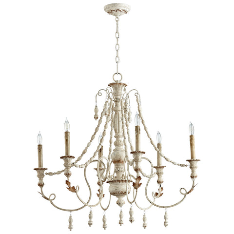 Lyon Six Light Chandelier in Persian White