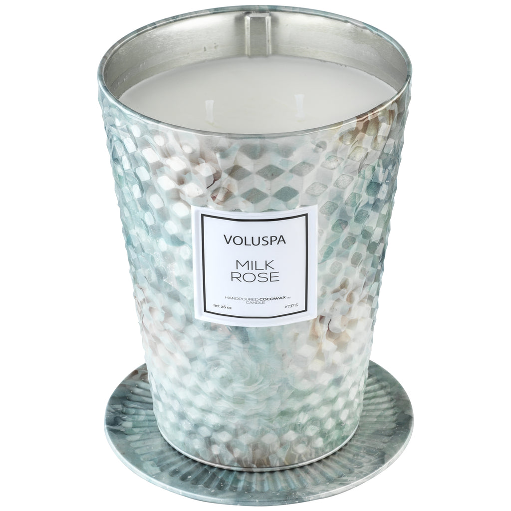 2 Wick Tin Table Candle in Milk Rose design by Voluspa