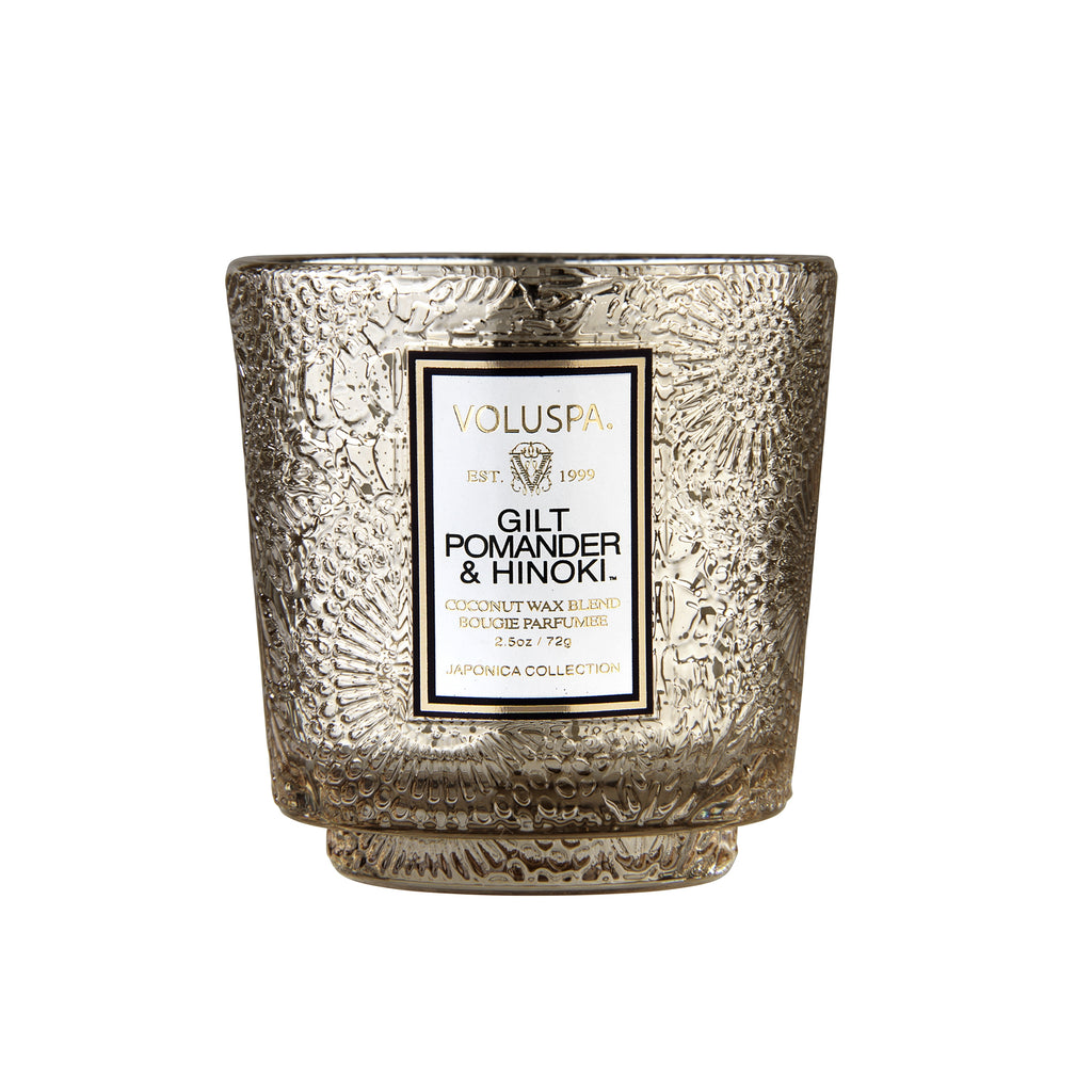 Pedestal 3 Wick Tin Candle in Gilt Pomander & Hinoki design by Voluspa
