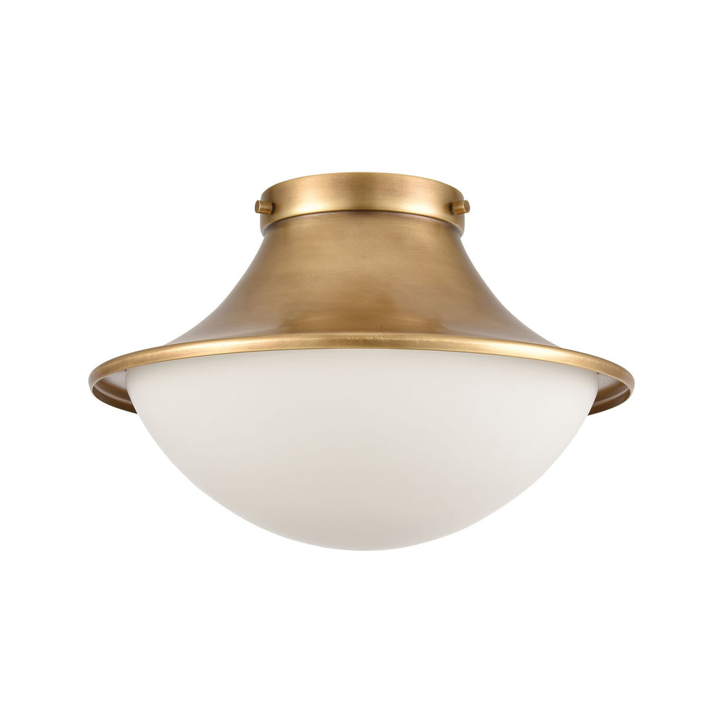 Matterhorn 1-Light 9 x 13 x 13 Flush Mount in Natural Brass with Opal White Glass by BD Fine Lighting