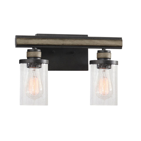 Beaufort 2-Light Vanity Light in Anvil Iron and Distressed Antique Gray Wood with Seedy Glass by BD Fine Lighting