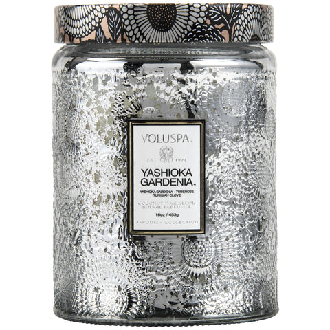 Large Embossed Glass Jar Candle in Yashioka Gardenia design by Voluspa