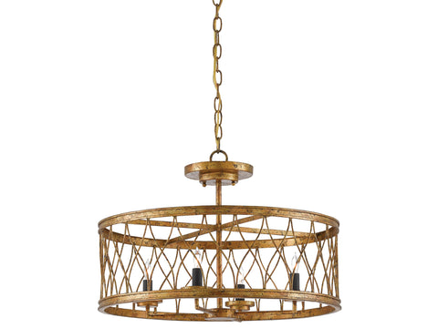 Crisscross Pendant in Gold Leaf design by Currey & Company