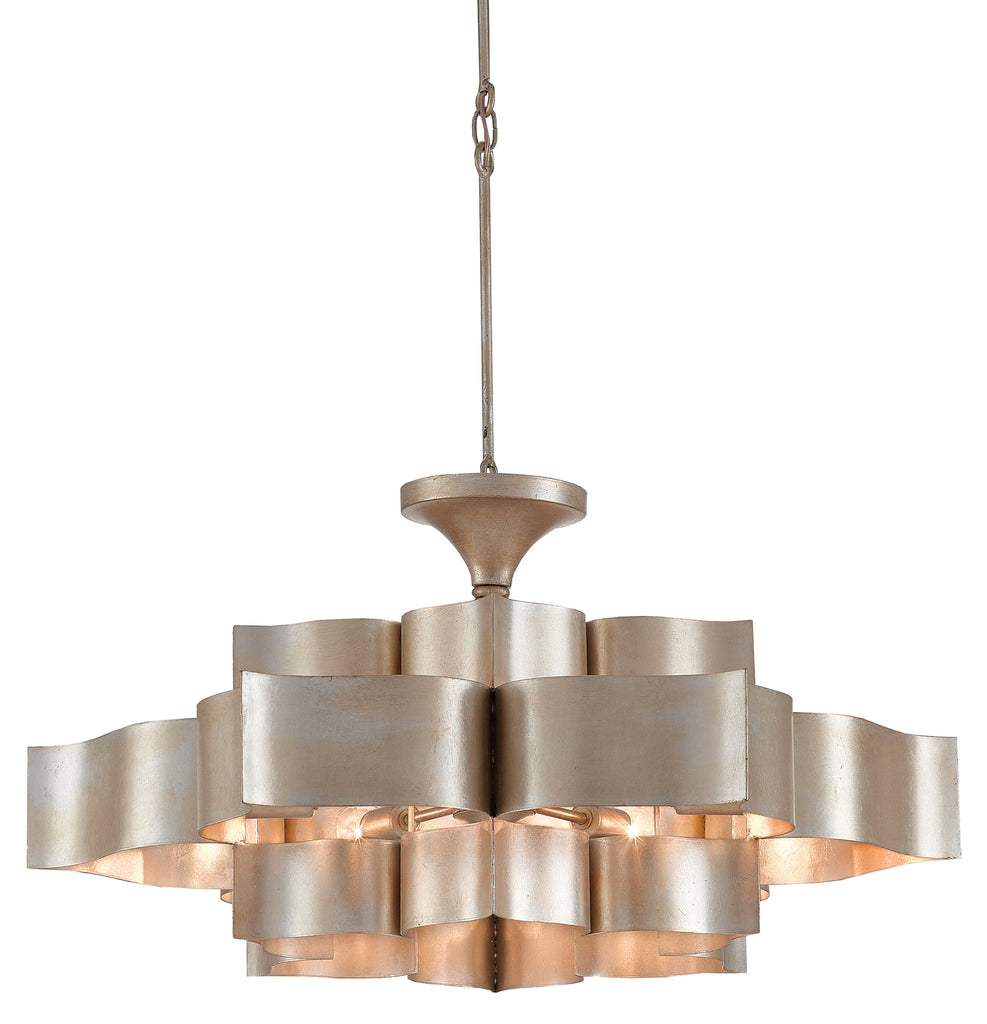 Currey And Company Lotus Chandelier: Grand Lotus Chandelier In Contemporary Silver Leaf Design