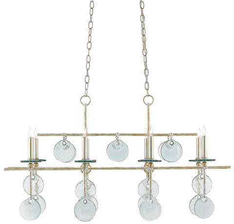 Sethos Rectangular Chandelier in Silver Granello design by Currey & Company
