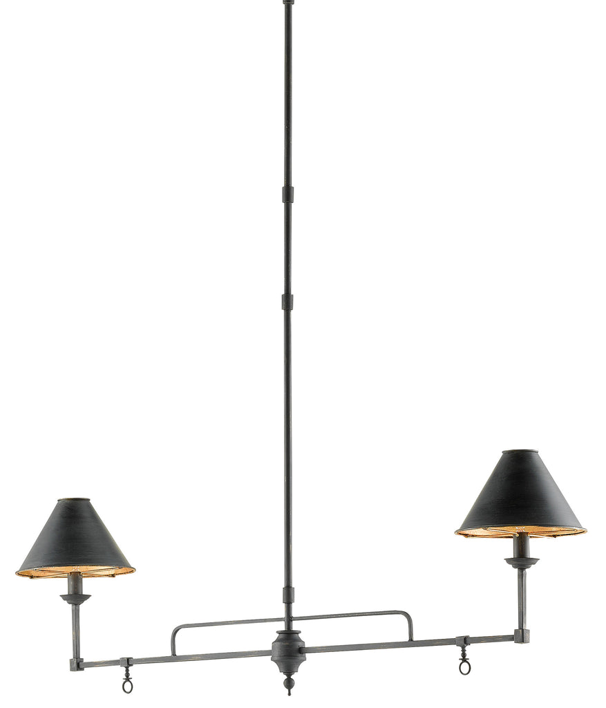 Prosperity Rectangular Chandelier in French Black design by Currey & Company