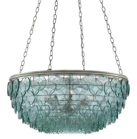 Small Quoram Chandelier in Silver Leaf design by Currey & Company