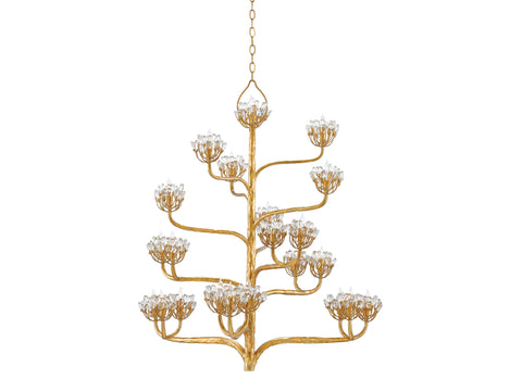 Agave Americana Chandelier in Dark Contemporary Gold Leaf design by Currey & Company